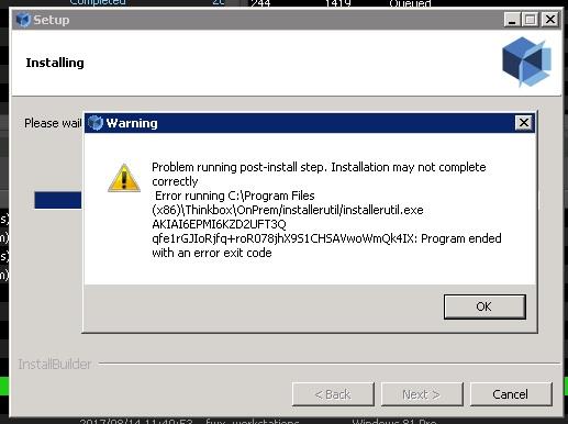AWSportal link setup ended with error - Deadline - AWS